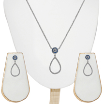 EVIL EYE SILVER TEARDROP SET
