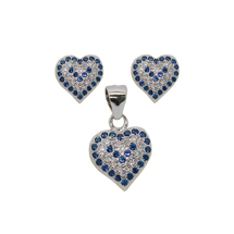 EVIL EYE STERLING SILVER HEART SET