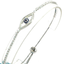 EVIL EYE SILVER GOOD LUCK BRACELET