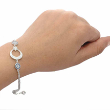 EVIL EYE SILVER CRESCENT MOON BRACELET