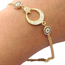 EVIL EYE GOLD PLATED CRESCENT MOON BRACELET