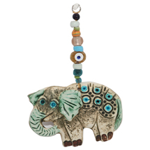 EVIL EYE CERAMIC ELEPHANT WALL HANGING