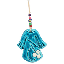 EVIL EYE CERAMIC BLUE FROCK WALL HANGING
