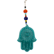 EVIL EYE CERAMIC BLUE PEACOCK WALL HANGING