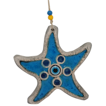 EVIL EYE LIGHT BLUE CERAMIC STARFISH WALL HANGING