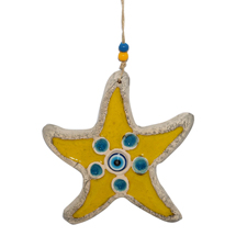 EVIL EYE CERAMIC YELLOW STARFISH WALL HANGING