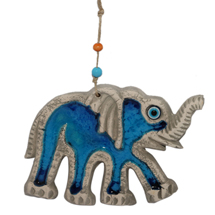 EVIL EYE BLUE CERAMIC ELEPHANT WALL HANGING