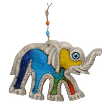 EVIL EYE MIX COLOUR CERAMIC ELEPHANT WALL HANGING