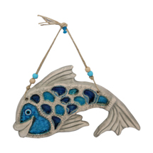EVIL EYE CERAMIC FISH WALL HANGING
