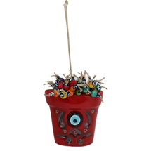 EVIL EYE CERAMIC FLOWER VASE WALL HANGING