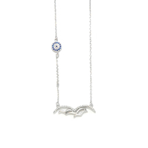 EVIL EYE SILVER FLYING BIRDS NECKLACE