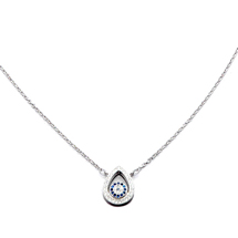 EVIL EYE SILVER TEARDROP NECKLACE