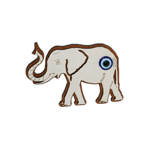 EVIL EYE ELEPHANT WOODEN FRIDGE MAGNET