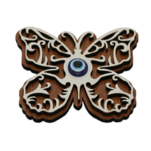 EVIL EYE BUTTERFLY WOODEN FRIDGE MAGNET