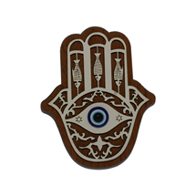 EVIL EYE HAND OF FATIMA WOODEN FRIDGE MAGNET