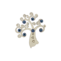 EVIL EYE TREE OF LIFE WOODEN FRIDGE MAGNET