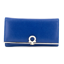 MATMAZEL NAVY BLUE SINGLE-COLORED CLUTCH