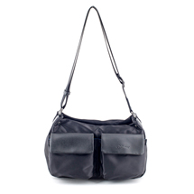 MATMAZEL BLACK POCKETED HANDBAG