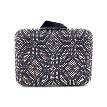 MATMAZEL BLACK PRINTED CLUTCH