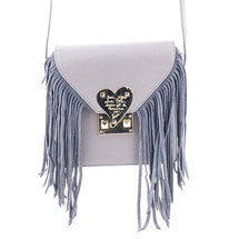 MATMAZEL GREY MESSENGER BAG WITH TASSELS